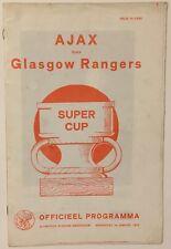 Rare 1973 Super Cup Final- Ajax v Rangers Pirate  Soccer Program