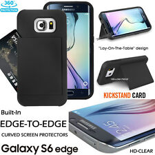 For SAMSUNG Galaxy S6 EDGE Case card pocket Holder Stand Armor+Full Covered Film