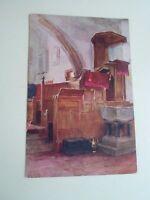 Rare Vintage Colour Postcard MINSTEAD CHURCH (Interior) Hampshire Unused