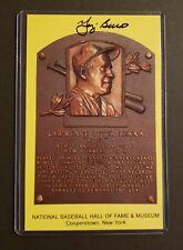 Yogi Berra Autographed Hall of Fame Yellow Postcard Plaque (COA)
