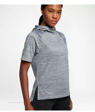 Nike Sz M Women s Therma Short Sleeve Running Hoodie 856667-012 Grey 1f7a024423