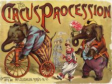 "16x20""Poster Decor.Room design art print.Elephants Circus on Bicycle show.5985"