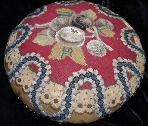 Antique c.1850 Biedermeier Needlepoint Beaded Embroidered European Footstool