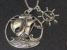 "Nautical Sailboat Ancient Marinier Mix B Charm Tibetan Silver 18"" Necklace"