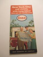 Vintage 1953 ESSO New York City & Vicinity Oil Gas Service Station Road Map