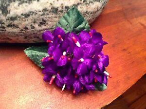 "Vintage Millinery Flower Violet 18 Stem Bouquet with 1"" Blooms for Hat Purple UF"
