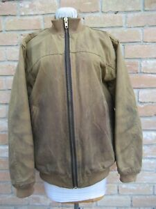 USED & Dirty FILSON TIN CLOTH Hunting Work Bomber Jacket Style 10069 Tan LARGE