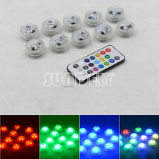 Submersible RGB 10/LED Light Multi-color Wireless IR Remote Control Battery UK
