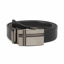 Veronz Men's Elegant Wide Black Leather Slide Belt Ratchet Belt Buckle One Size