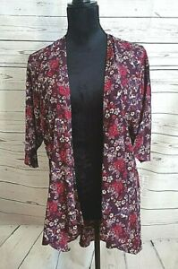 LULAROE womens floral light kimono open cardigan size small 3/4 sleeve #129
