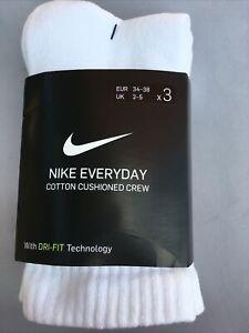 NIKE 3 Pack Everyday Cotton Cushion Crew Socks Black/ White (UK 2-5 )