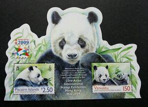 *FREE SHIP Pitcairn Islands Vanuatu Joint Issue Panda 2009 (ms MNH *odd *unusual