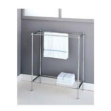 Bathroom Towel Rack Free Standing Chrome Holder Bar Shelf Bath Storage Organizer