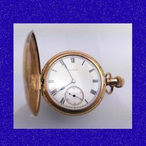Gorgeous Vintage 14k Gold Elgin 15 Jewel Deco Stockport Hunter Pocket Watch 1925