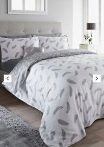 100% Cotton Sateen Feather Design Duvet Cover Set Double