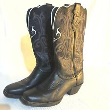 Justin Boots Womens 6B Black Leather Western Cowgirl Stampede Boots L2554 Cowboy