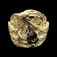 Rolled Gold Plated Saddle Ring Mens Boys Big Adjustable stamped 22k
