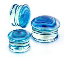 "Ear Plugs 12mm/1/2"" Gauge Body Jewel Pair-Pyrex Glass Pearl Blue Saddle Flare"