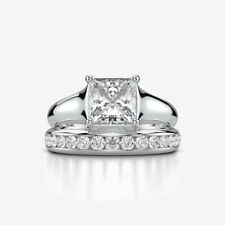 DIAMOND RING BAND 4 PRONGS SI2 18K WHITE GOLD APPRAISED 3.21 CT SIZE 7 8 9