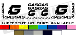 8 PIECE GAS GAS LOGO STICKERS / DECALS SET - DIFFERENT COLOURS AVAILABLE