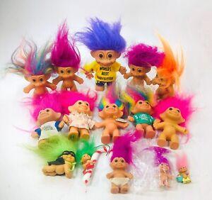 Vintage Lot 15 Russ Troll Dolls Babysitter Easter Bengals Lottery Ornament Mini