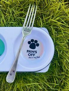 Dog Lovers Hand Stamped Repurposed Antique Silver Plated Dog Puppy Pet Food Fork
