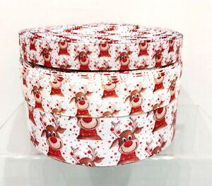 Christmas Printed Grosgrain Ribbon 16/22/38/75mm widths 1m 2m 5m Cute Reindeer
