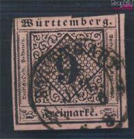 Württemberg 4c fein (B-Qualität) geprüft gestempelt 1851 Ziffern Raute (6925811