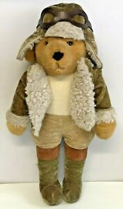"Vintage Merrythought Pilot Aviator Hat Goggles Teddy Bear 18"" (45cm)"