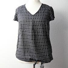 Sheego Bluse Tunika, schwarz weiß, Gr 46, gemustert, Zugband, Kurzarm, Shirt