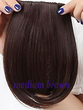 Straight Bang Clip in on Fringe Hair Extensions as Human Hairpiece Blonde Brown