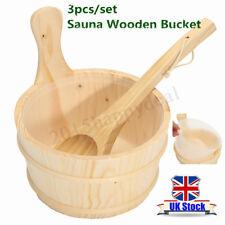 Sauna Wooden Bucket Pail Ladle + Linner Combined Set Sauna Room Accessory  h