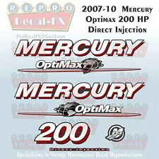 07-10 Mercury Optimax Globe 200HP Direct Injection Outboard Repro 7 Pc Decals