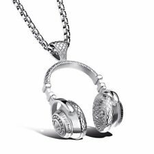 Hip Hop Titanium Steel Music Headphone Headset Pendant Necklace Men's Punk Gift