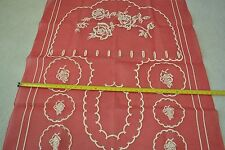 """42"""" Long x 38"""" Wide, Vintage White Flocking on Red Cotton Organdy, M5252"""