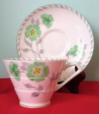 Paragon Art Deco HAND PAINTED Green Flower Fine Bone China Cup And Saucer 1933