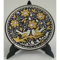 Damascene Gold & Silver Dove of Peace Round Decorative Miniature Plate by Midas