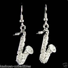 SAXOPHONE made with Swarovski Crystal Music Musical Instrument Earrings Jewelry