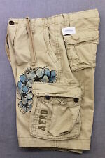 AEROPOSTALE LOGO Mens BEIGE HEAVY FLORAL TROPICAL LONG CARGO SHORTS NWT 30  $45