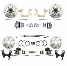1955-1958 Impala, Bel Air Front & Rear Disc Brake Kit Drilled/ Slotted Rotors