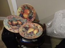 GODINGER LIMOGES STILL LIFE FRUIT DESIGN PEAR APPLE 3 DINNER PLATES GOLD RIM NEW