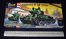"""Russian T-34 Tank in """"S"""" Box. Rare Kit. Vintage 1950s Revell USA. 1:40 Scale"""