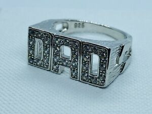 925 Genuine Sterling Silver Men's Dad Solid Ring CZ Stone Set -