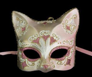 Masque de Venise Chat rose doré florale Artisanat de Luxe Peint à la main 384