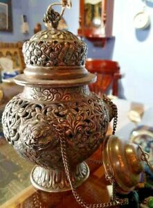 Antique Rare Indian Hand carved Brass & Silver Plated Censer