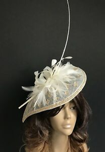 New Design Handmade Gold/Cream Hatinator Mother Of The Bride/Groom Wedding Ascot