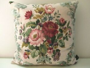 Sanderson Rare Vintage Linen CHATSWORTH Floral &  Navy Blue Velvet Cushion Cover