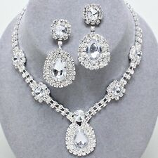 Glitzy Glamour clear diamante necklace set Brides Proms Parties statement 0242