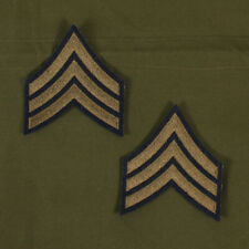 US WW2 Style Sergeant Rank Stripes. Pair Green on Blue