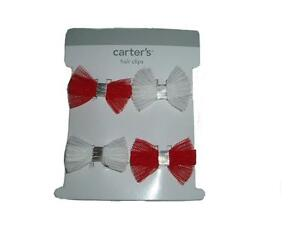 Carter's Baby Girl Holiday Collection 4 Hair Clips Red White